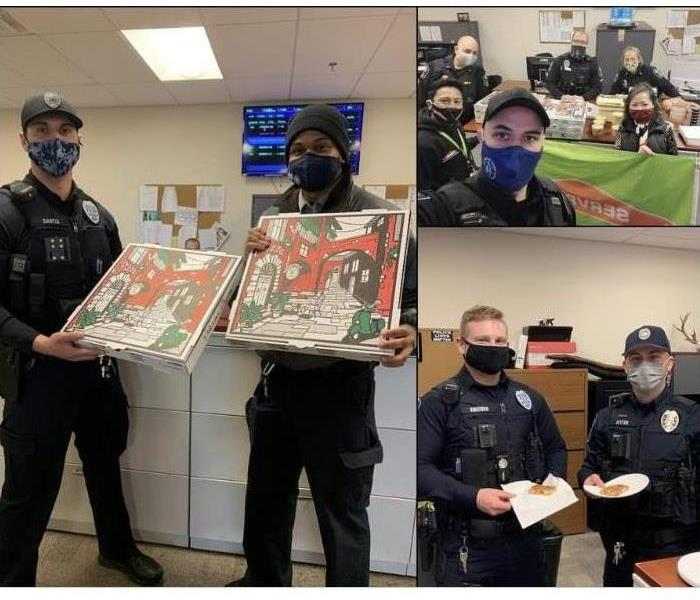 Screen shot of Pizza Day photos at police department